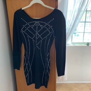 Black party dress with silver sequencing details